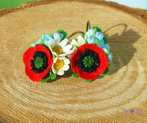 etsy, red flowers, and red jewelry image