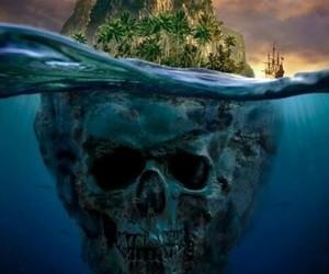 Island, skull, and pirate image