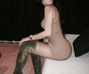 dress, kylie jenner, and over-knee boots image