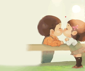 child, kiss, and cute image