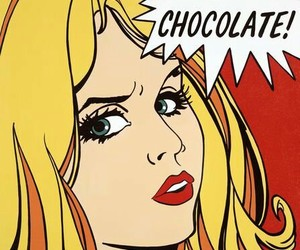 chocolate, pop art, and red image