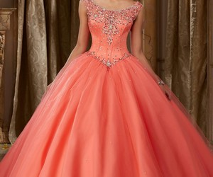 coral, gown, and quinceanera image