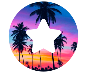 beach, palm trees, and stars image