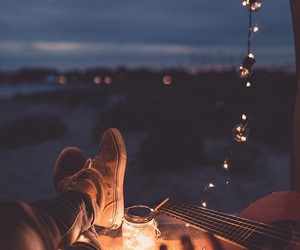 light, night, and guitar image