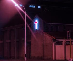 neon, cross, and aesthetic image
