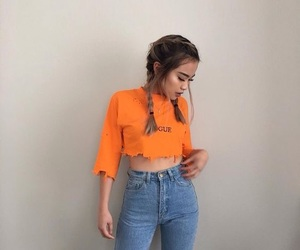girl, fashion, and orange image