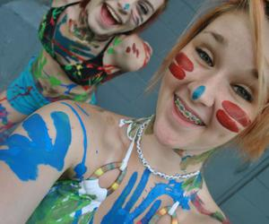 bathing suits, braces, and colorful image