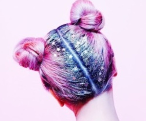 hair, pink, and stars image