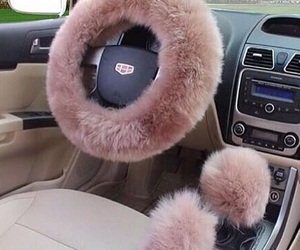 car, pink, and fur image