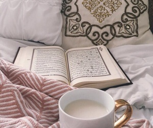 quran, islam, and coffee image