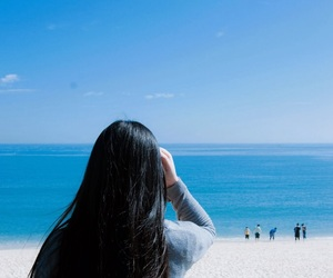 beach, blackhair, and blue image