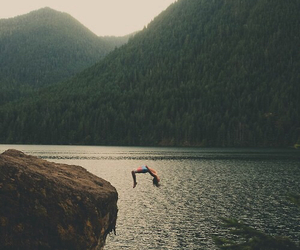 nature, jump, and mountains image