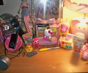 dresser, messy, and pink image