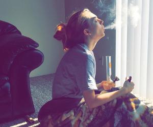 girl, morning, and smoking image