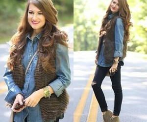 jeans, ootd, and fur vest outfit idea image