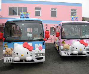 hello kitty, bus, and japan image