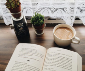 book, coffee, and plants image