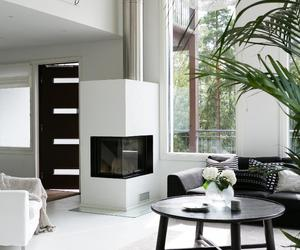 blackandwhite, fireplace, and living room image