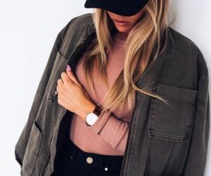 blonde, cap, and watch image