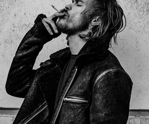 black and white, cigarette, and guys image