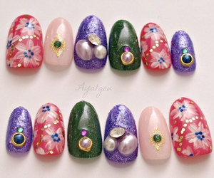 bling, flower pattern, and oval nails image