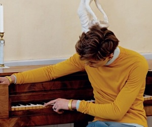 yellow, piano, and aesthetic image