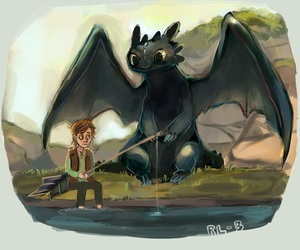fishing, toothless, and hiccup image