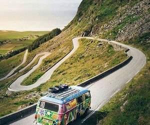 road, van, and hippy image