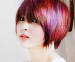 asian, hair, and red image