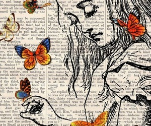 butterfly, alice, and book image