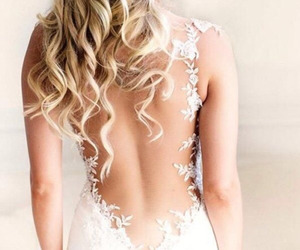 adorable, backless dress, and blond hair image