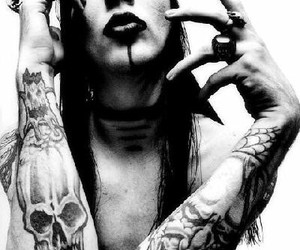 Marilyn Manson, tattoo, and black and white image