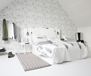 bed, bedroom, and bricks image