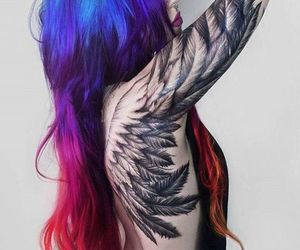 color hair, cool, and tattoed image