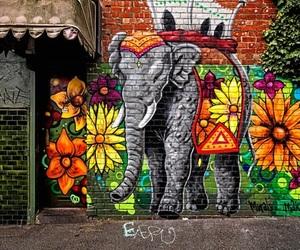art, street art, and elephant image