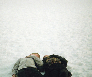 snow, couple, and love image