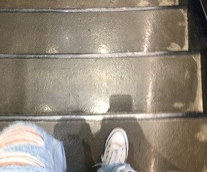 converse, jeans, and stairs image
