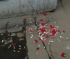 grunge, rose, and cigarette image