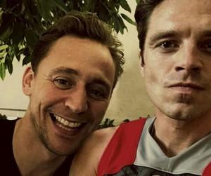 sebastian stan, tom hiddleston, and Marvel image