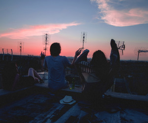 friends, sky, and sunset image