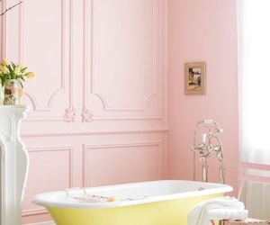 pink, bathroom, and yellow image
