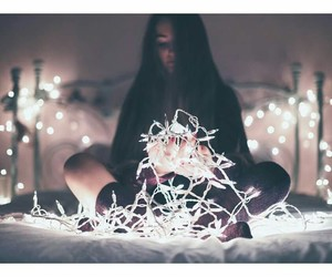 girl, bed, and lights image