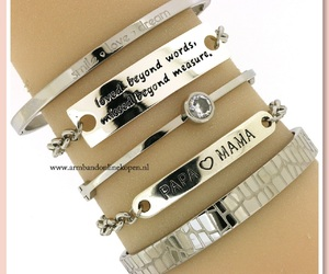 bracelet, zilver, and quote bangles image
