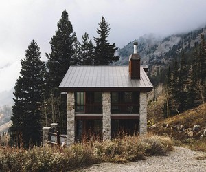 house, cabin, and nature image
