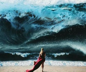 girl, ocean, and waves image