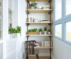 balcony, books, and design image