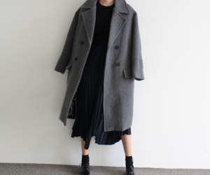 black skirt, coat, and fashion image