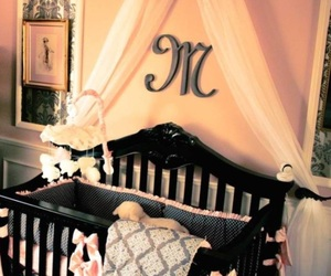 baby girl, baby room, and black image