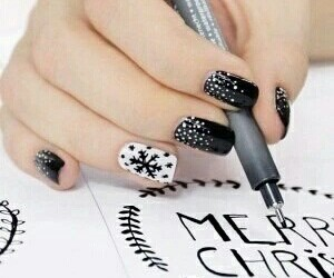 black, winter, and nails image