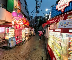 city, japanese, and shops image
